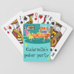 """Retro Women&#39;s Weekly Card Game Playing Cards<br><div class=""""desc"""">These customizable Retro Women&#39;s Weekly Card Game Playing Cards feature a cartoon drawing of four mid century modern women at a hen party. They are socializing in a stylish dining room. On a turquoise and teal brick wall, there is a Mid Century Modern Globe Art Stretched Canvas Print available from...</div>"""