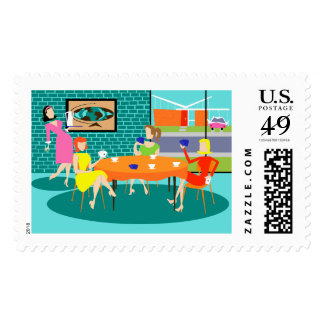 Retro Women's Weekly Card Game Postage Stamps