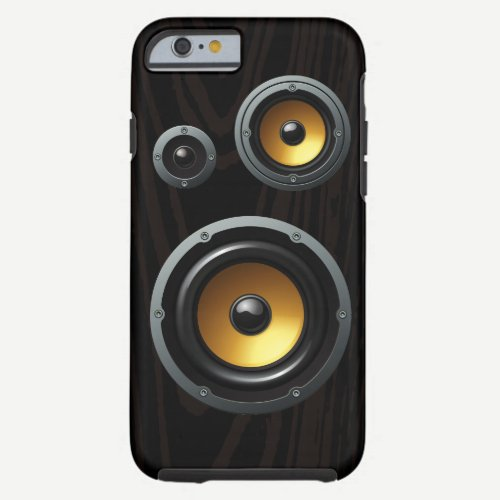 Retro Wood Grain Speaker Trio Tough iPhone 6 Case