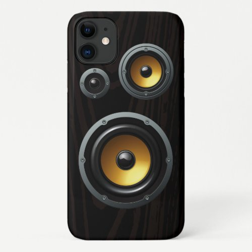 Retro Wood Grain Speaker Trio iPhone 11 Case