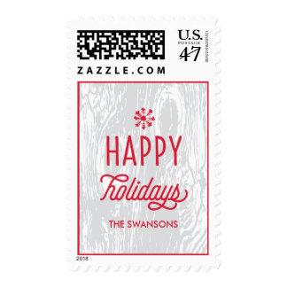 Retro Woodgrain Happy Holidays Postage Stamp