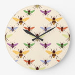 Retro woodland rainbow bees bumblebees pattern clock