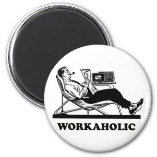 Retro Workaholic 2 Inch Round Magnet