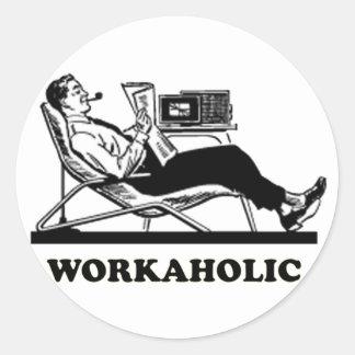 Retro Workaholic Classic Round Sticker