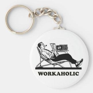 Retro Workaholic Basic Round Button Keychain