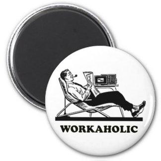 Retro Workaholic Refrigerator Magnet