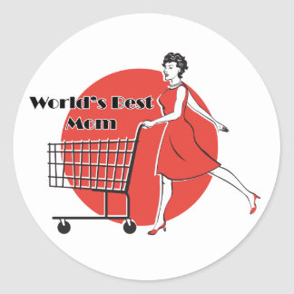 """Retro """"Worlds Best Mom"""" Classic Round Sticker"""