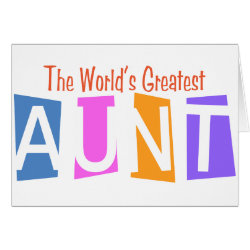 Greeting Card with Retro World's Greatest Aunt design