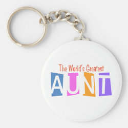 Basic Button Keychain with Retro World's Greatest Aunt design