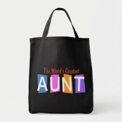 Grocery Tote with Retro World's Greatest Aunt design