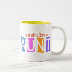 Two-Tone Mug with Retro World's Greatest Aunt design