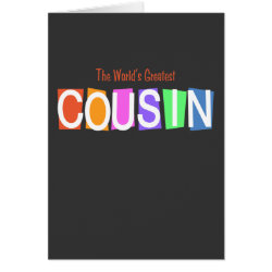 Greeting Card with Retro World's Greatest Cousin design