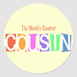 Round Sticker with Retro World's Greatest Cousin design