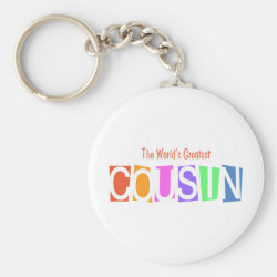 Basic Button Keychain with Retro World's Greatest Cousin design