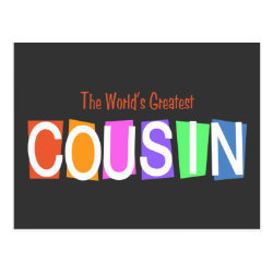 Postcard with Retro World's Greatest Cousin design