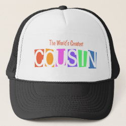 Trucker Hat with Retro World's Greatest Cousin design