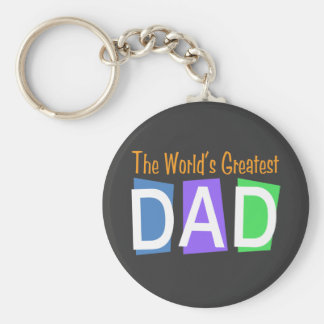 Retro World's Greatest Dad Basic Round Button Keychain