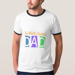 Men's Basic Ringer T-Shirt with Retro World's Greatest Dad design