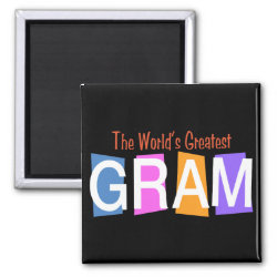 Square Magnet with Retro World's Greatest Gram design