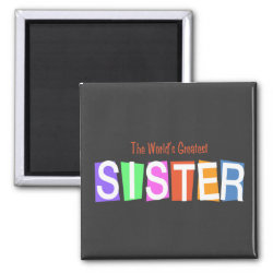 Square Magnet with Retro World's Greatest Sister design