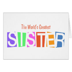 Greeting Card with Retro World's Greatest Sister design