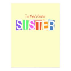 Postcard with Retro World's Greatest Sister design