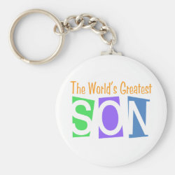Basic Button Keychain with Retro World's Greatest Son design