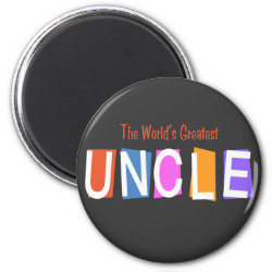 Round Magnet with Retro World's Greatest Uncle design