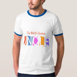Men's Basic Ringer T-Shirt with Retro World's Greatest Uncle design