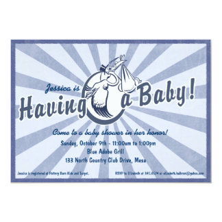 Retro Wow Baby Shower Invitation - Blue