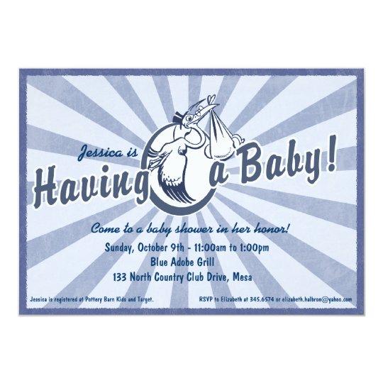 Retro Wow Baby Shower Invitation - Blue