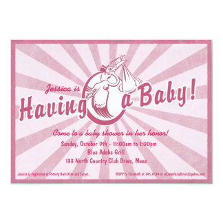 Retro Wow Baby Shower Invitation - Pink