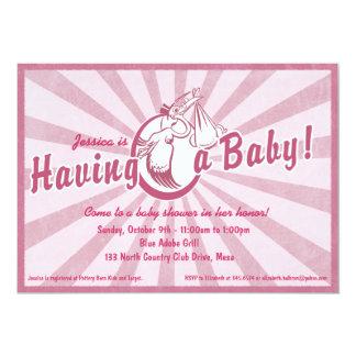 Retro Wow Baby Shower Invitation - Pink