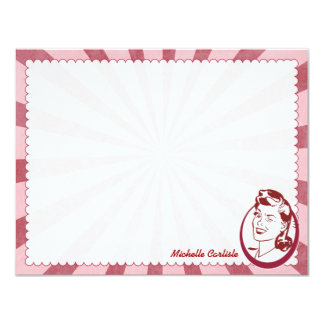 Retro Wow Gal Personalized Flat Note Cards