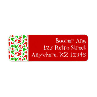 Retro Xmas Boomerang Return Address Label