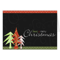 xmas, christmas, swirls, snowflakes, pine, dots, trees, joy, winter, holidays, gift, present, Card with custom graphic design