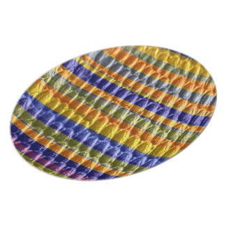 Retro yellow and blue art stripes graphic design dinner plate