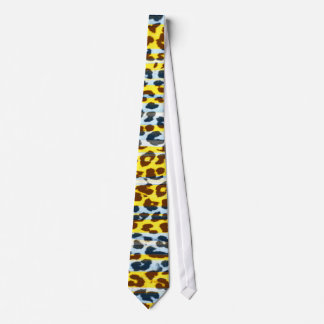 Retro yellow and grey animal fur abstract texture neck tie