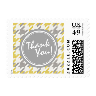 Retro yellow and grey houndstooth plaid pattern stamp
