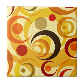 Retro yellow and orange circles ceramic tile