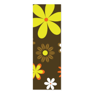 Retro yellow and orange flowers on brown business card
