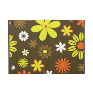 Retro yellow and orange flowers on brown iPad mini covers
