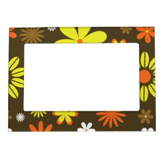 Retro yellow and orange flowers on brown magnetic photo frame