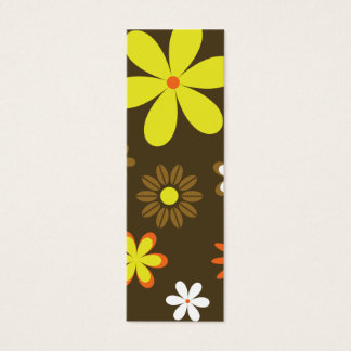 Retro yellow and orange flowers on brown mini business card