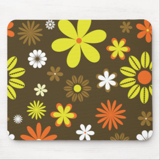 Retro yellow and orange flowers on brown mouse pad