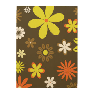 Retro yellow and orange flowers on brown wood wall art