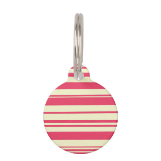 Retro Yellow and Pink Stripes Pet ID Tag