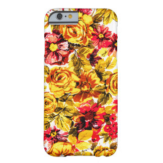 Retro yellow and red flowers barely there iPhone 6 case