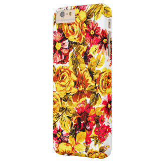 Retro yellow and red flowers barely there iPhone 6 plus case