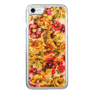 Retro yellow and red flowers carved iPhone 7 case